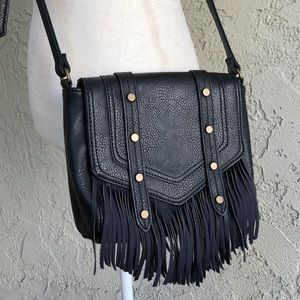 Carlos Black Leather Fringe Festival Bag Purse